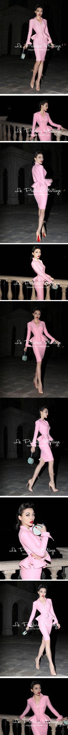 le palais vintage 限量 50年代复古优雅粉色紧身铅笔裙套 0.7kg-淘宝网
