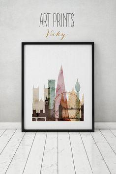 London watercolor print, watercolor poster, Wall art, London skyline, England, cities poster, digital watercolor, ART PRINTS VICKY.