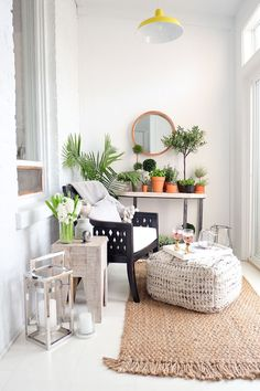One of my favorite spaces in my apartment is my small balcony, almost a tiny sunroom. The windows keep it isolated and I've been able to add a small folding table and a bench transforming the… Small Sunroom, Small Balcony Design, Small Conservatory, Tiny Balcony, Small Balconies, Balcony Garden, Home Staging, Sunroom Decorating, Sunroom Ideas