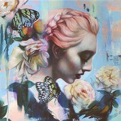 "Beautiful Bizarre Magazine""Promise"" by @liobabrueckner, just beautiful! Glitter & Oil on Canvas."