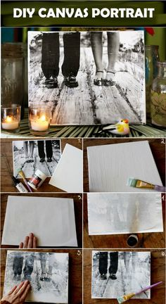 38 Easy DIY Photo and Picture Frame Crafts make your own canvas, canvas set, decorating with canvas pictures Diy Photo, Photo Craft, Canvas Photo Transfer, Photo Canvas, Wood Picture Transfer, Picture Frame Crafts, Picture On Wood, Wood Photo, Diy Wall Art