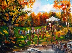 A Beautiful Jewish Art oil painting for sale of Wedding in the Garden by Steve Karro.  A real Oil on canvas painting only at www.judaica-art.com