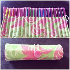 The Sweetest Petunia: (made) a colored pencil roll. I used pieces for the inside/outside/flannel lining. Then you don't have to trim off the extra. Roll Up Pencil Case, Diy Pencil Case, Pencil Pouch, Pencil Case Tutorial, Sewing Hacks, Sewing Tutorials, Sewing Patterns, Fabric Crafts, Sewing Crafts