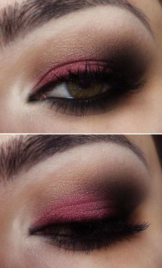 Magenta & deep brown smokey eye