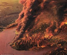 The harrowing image of the New York City skyline marred by a giant mushroom cloud splashed the cover of Collier's magazine on August 5, 1950 - at a time of heightened American anxiety. Description from dailymail.co.uk. I searched for this on bing.com/images