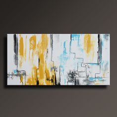 ABSTRACT PAINTING Yellow Gray White Black Blue Painting by itarts