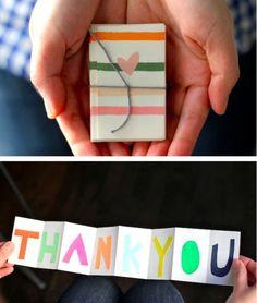 Fun, unique idea for a thank you card.