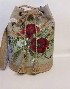 Maľovaná ľanová kabelka s rúškom Mobiles, Folk, Knitting, Crochet, Popular, Tricot, Mobile Phones, Breien, Forks