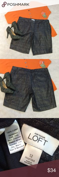 SZ 12 ANN TAYLOR LOFT SHIMMERY DRESS SHORTS These are fabulous with the silver shimmer throughout. Trouser dressy style and you can wear through fall with a sweater and tights. Ann Taylor Shorts