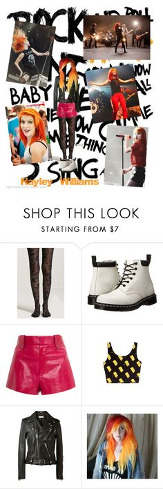 """Hayley Williams (Rock Goddess)"" by taylor-firestone ❤ liked on Polyvore featuring Forever 21, Dr. Martens, Georgine, Yves Saint Laurent, paramore and hayleywilliams"