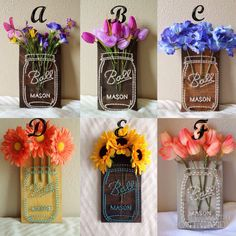 Mason jar flower string art with artificial flowers. The boards measure about 10in x 5in. (Most popular items are in the first picture