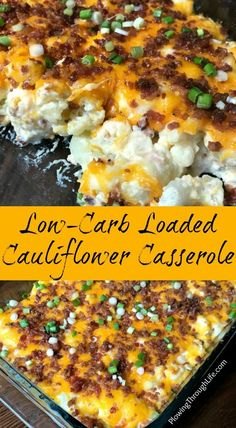 Low Carb Meals Are you looking for an easy low-carb side dish? The bacon, cheese, and sour cream make this Easy Low-Carb Loaded Cauliflower Casserole a delicious alternative to potatoes! This side dish will be a hit at your family dinner table or potluck! Low Carb Side Dishes, Side Dishes Easy, Side Dish Recipes, Potluck Side Dishes, Diabetic Side Dishes, Dishes Recipes, Recipies, Low Carb Dinner Recipes, Keto Recipes