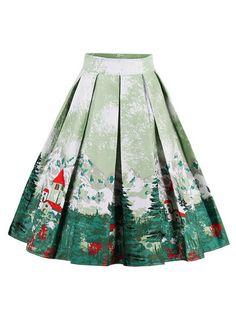 Cute Printed Women Pleated Skirts