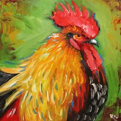 Rooster 602 12x12 inch animal portrait original oil painting by Roz