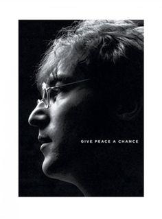 John Lennon GIVE PEACE A CHANCE Black-and-White Portrait Poster Print
