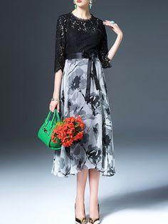 Paneled Lace Midi Dress