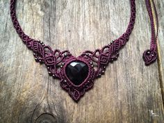 Macrame necklace elven tiara Faceted Onyx par creationsmariposa