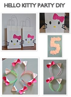 Headbands: dollar store headbands, foam craft sheets, super glue and like OMG! get some yourself some pawtastic adorable cat apparel! 4th Birthday Parties, Diy Birthday, Birthday Ideas, Hello Kitty Themes, Hello Kitty Birthday, Cat Party, Party Fun, Party Themes, Party Ideas