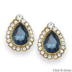 Elegant-Fashion-Earrings-with-Blue-Glass-and-Crystal-NEW