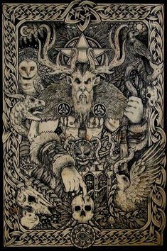 """Cernunnos is one of the greatest and most ancient Celtic gods. He is the Lord of the Animals, the """"Horned One"""". The 'cer' part of his name, relating to his antlers, means 'horned'. Viking Art, Viking Symbols, Celtic Mythology, Demonology, Celtic Art, Green Man, Book Of Shadows, Gods And Goddesses, Community Art"""