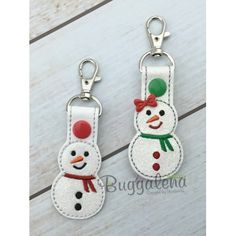 Snowman Key Fob Embroidery Design with Snap Tab