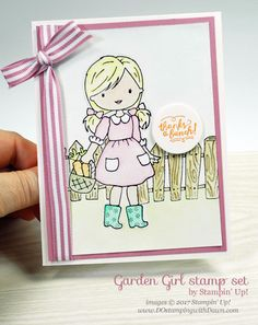 Stampin' Up! Garden Girl card with Watercoloring Tips shared by Dawn Olchefske #dostamping