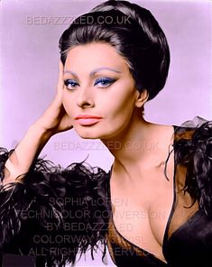 SOPHIA LOREN TECHNICOLOR CONVERSION BY BEDAZZZLED FROM GOOD QUALITY B/W PRINT
