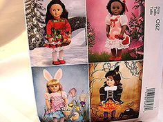 McCalls 18 inch Doll Clothes Pattern UNCUT Holiday Dresses for American Girl Valentines Day, Easter, Halloween, Christmas    Holiday Clothes
