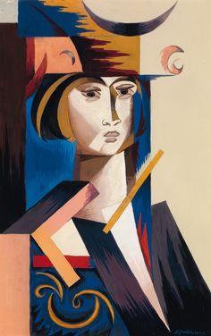 Portrait de jeune femme, c.1916, by Natalia Goncharova (Russian, 1881-1962).