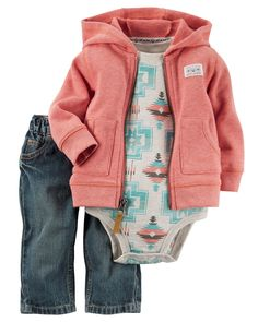 Featuring a bright neon cardigan, this 3-piece set is complete with denim pants and a soft printed bodysuit.