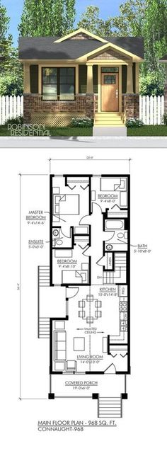 The Craftsman plan is a small bungalow with an efficient use of space on a small footprint suited for a narrow lot. This craftsman house plan features: Authentic craftsman styled…More Craftsman House Plans, Small House Plans, House Floor Plans, Small Bungalow, Casas Containers, Cottage Plan, Tiny House Living, Tiny House 3 Bedroom, Cottage Bedrooms