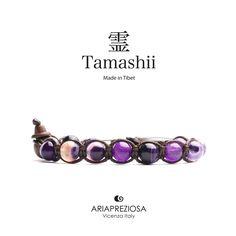 Tamashii - Bracciale Tradizionale Tibetano realizzato con pietre naturali AGATA LACE VIOLA