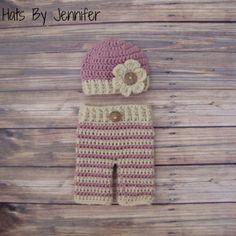 RTS - Newborn Pink Crochet Hat and Pants Set - Ready to Ship
