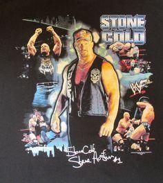 WWE Stone Cold- Steve Austin Black T-Shirt. Size Large. Back With A Vengance #AAAAllstyleApparelActivewear Austin Wwe, Steve Austin, New Rap, Wrestling Shirts, Stone Cold Steve, Retro, Baby, T Shirt, Men