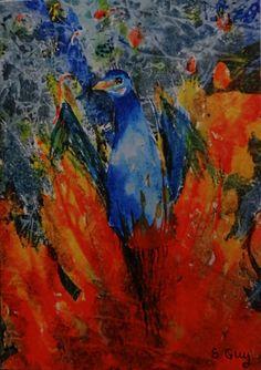 Phoenix Watercolour Painting Print  Greetings Card by FlowaPowaArt, £2.00