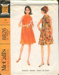 McCall's 8826; ©1967; Misses' Dress. Sleeveless flared dress, with bias roll collar, has high cut armholes and center back zipper. Front and backs are gathered to neck facings and included in collar seam. Armholes are faced and collar is tacked in place at back and closed with hooks and eyes. Collar may be interfaced.