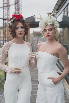 Super Stylish Same-Sex Bridal Inspiration at House of Ollichon. Find your perfect lesbian wedding look now! #LesbianWedding #SameSexWedding #AlternativeWedding