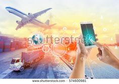 Social connection and networking for Logistic Import Export background.