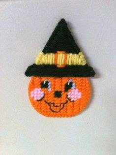 pumpkin magnet needlepoint plastic canvas on Etsy, $4.00