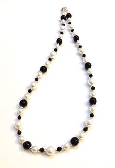 Black & white glass pearls and black glass crystals necklace