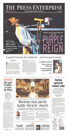 #PRINCE | Today's Front Pages | Newseum