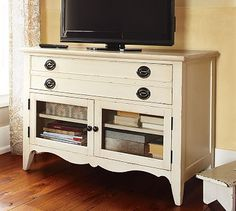 tv stand --love this! I need to find a dresser that I can turn into an entertainment center. PB is too expensive!