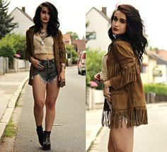 Get this look: http://lb.nu/look/8343706  More looks by Tessa Diamondly: http://lb.nu/tessadiamondly  Items in this look:  Topshop X Kate Moss Fringe Suede Jacket, Romwe Denim Shorts, Crochet Bralet   #bohemian #edgy #grunge