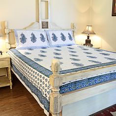 Cotton Hand Block Printed Double Bedcover - Blue Big Paisely With 2 Pillow Covers for INR 1,525