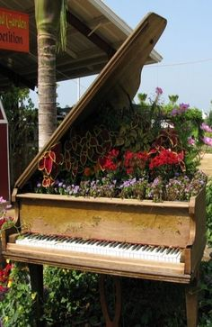 Grand Piano Planter - I don't know if I should laugh or cry, perhaps the birds needed some music