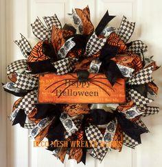 Halloween Wreath, Halloween Wreaths, Spider Wreath, Skull Wreath, Mesh Wreaths…