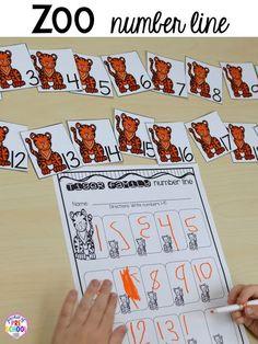 Zoo animal family number line for a zoo theme. Desert art FREEBIE. Prefect for preschool, pre-k, and kindergarten.