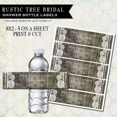 Water bottle labels DIY Print and Cut - personalized wedding favor  Bridal shower favor Rustic Wood Tree Design on Etsy, $12.00