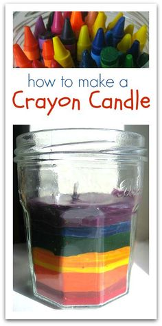 Cool for decoration even if it doesn't burn really well. How to make a crayon candle.