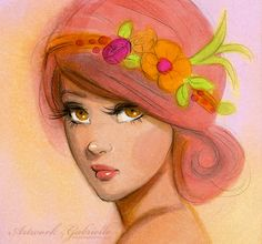 "Beautiful Girl illustration, drawing. As a Fairy / Bella ragazza, illustrazione, disegno. Come una Fata - Artwork by Gabrielle (Art by gabbyd70 on deviantART), ""May Flowers"""